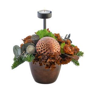 Kobber dekoration med 1 fyrfadslys