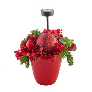 Rød dekoration med 1 fyrfadslys